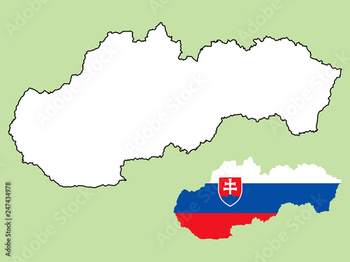 Obraz na plátně Slovakia map with national flag