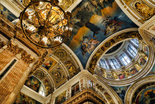 Icons And Decorated Dome With Windows In The Interior Of The St Isaac Cathedral In St Petersburg, Russia