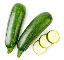 Ripe Zucchini And Sliced Slice...