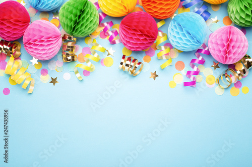 Birthday party background on blue Canvas Print