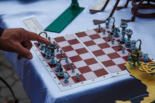 Unusual Chessboard With Forged Iron Figures