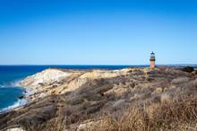 Aquinnah Head View With Gay Head Lighthouse On Cape Cod On A Sunny Day