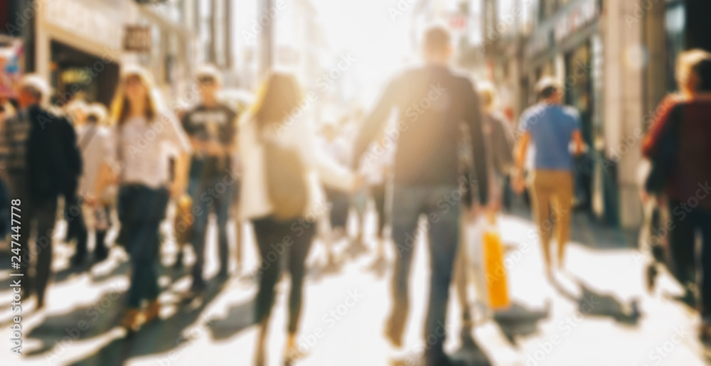 Fototapety, obrazy: crowd of people in a shopping street, defocused background