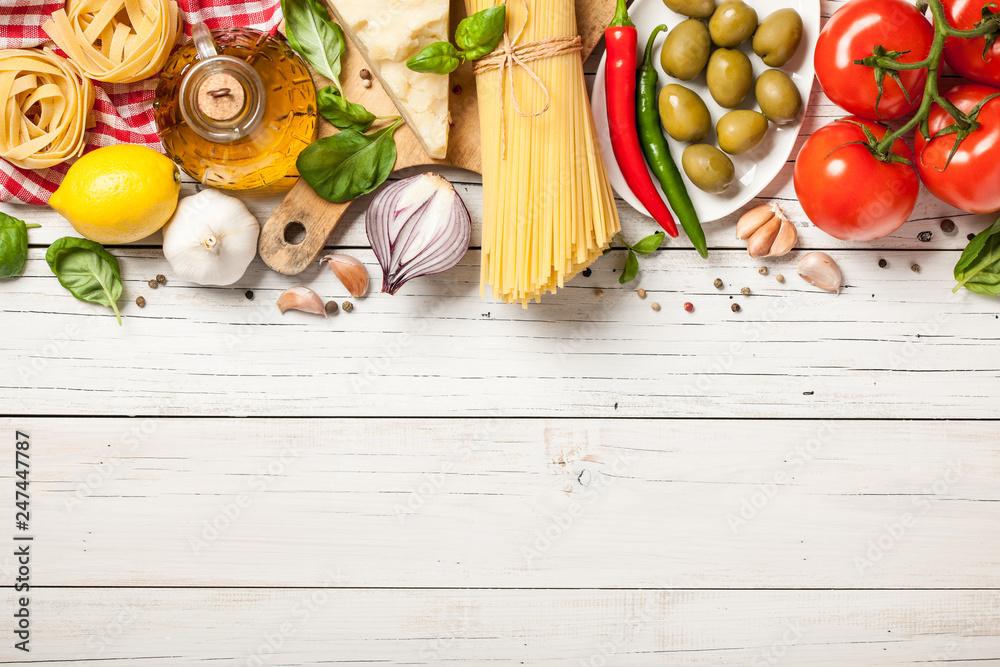 Fototapety, obrazy: Italian cuisine concept. Food ingredients for cooking