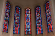Stained glass window in the parish church of St. Stephen in Wasseralfingen, Germany