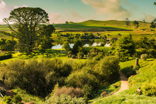 Panorama With Green Dragon Sunset In Hobbiton, New Zealand