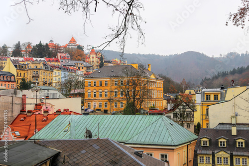 Photo  Cityscape of Karlovy Vary in the autumn time, Czech Republic