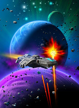 Space Battle Over An Alien Planetary System, Same Missiles Are Attacking A Spaceship, In The Background Sky With Nebula And Stars, 3d Illustration