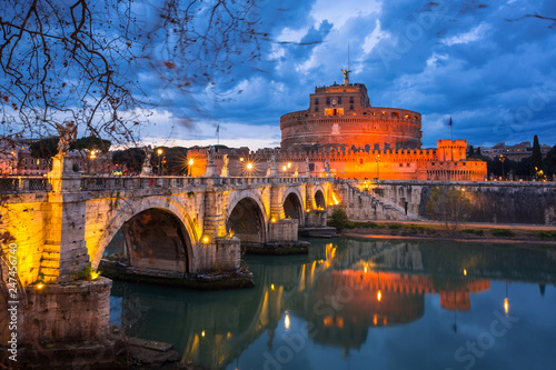 Fotobehang Centraal Europa Bridge to the Saint Angel Castle over the Tiber river in Rome, Italy