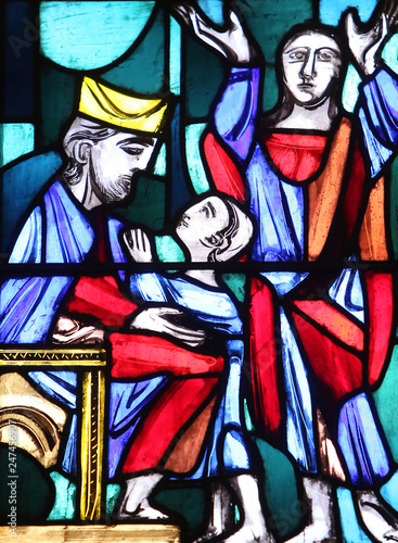 Photo  Hannah presenting her son Samuel to the priest Eli, Stained glass window in Basilica of St