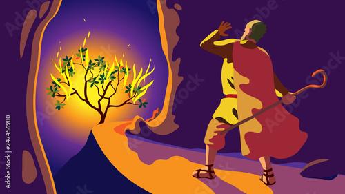 Obraz na plátně Revelation on mount Sinai, Moses before burning tree, appeal of God Lord