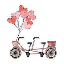 Retro Tandem Bicycle With Balloons Helium