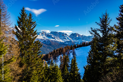 View with snow-capped mountains of Trentino Alto Adige, Italy Canvas Print