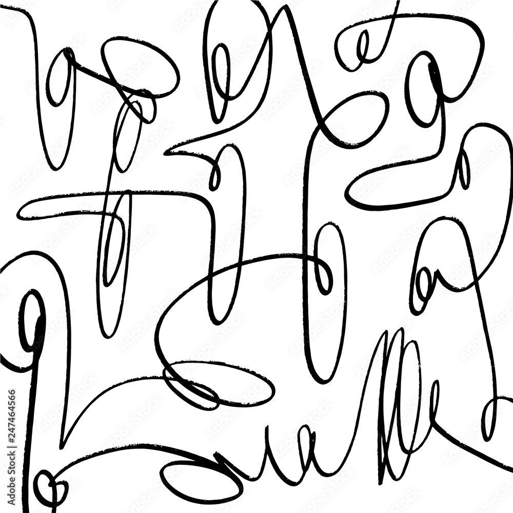 Hand drawn scribble sketch lines object isolated on white background. stylized temting contemporary art