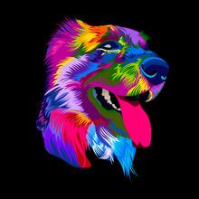 Pop Art Dog. Vector Illustration Colorful Dog Muzzle.