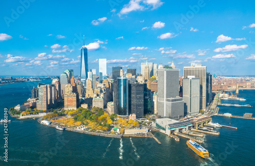 Beautiful aerial view of Lower Manhattan from the helicopter ride - New York, USA