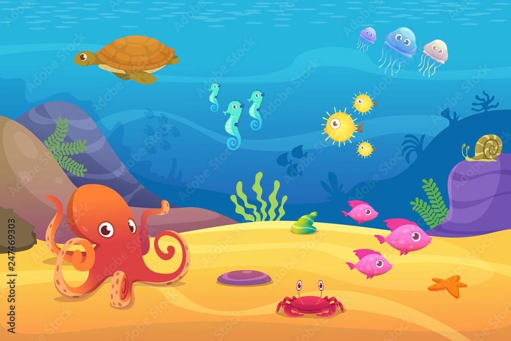 Fototapeta Underwater life. Aquarium cartoon fish ocean and sea animals vector background. Illustration of underwater sea with fish, octopus and jellyfish