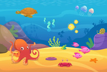 Underwater Life. Aquarium Cartoon Fish Ocean And Sea Animals Vector Background. Illustration Of Underwater Sea With Fish, Octopus And Jellyfish
