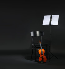 Violin, Chair And Note Stand W...