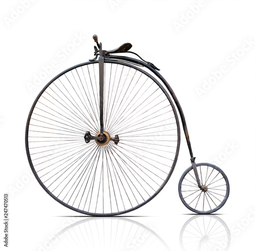 penny-farthing, high  wheel retro bike  on white background