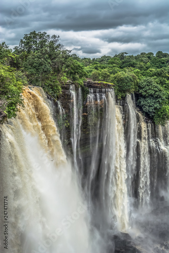 Garden Poster Forest river Full view of the Kalandula waterfalls on Lucala river
