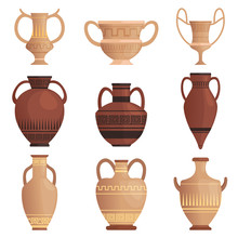 Clay Jug. Ancient Amphora With Pattern Greek Cup And Other Vessel Vector Cartoon Pictures Isolated. Illustration Of Clay Old Ancient Vase, Antique Jar