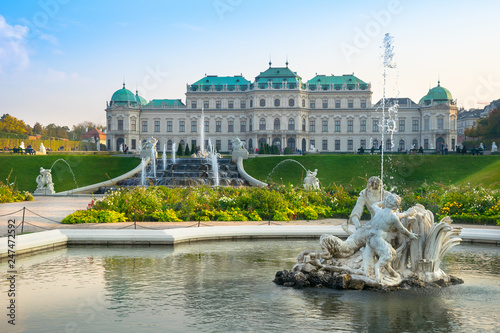Vienna, Austria - 0ctober, 17, 2018 - People enjoy a sunny day to visit the Belvedere Palace.