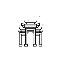 Architecture, Paifang, China Culture Building Icon. Element Of China Culture Icon. Thin Line Icon For Website Design And Development, App Development. Premium Icon