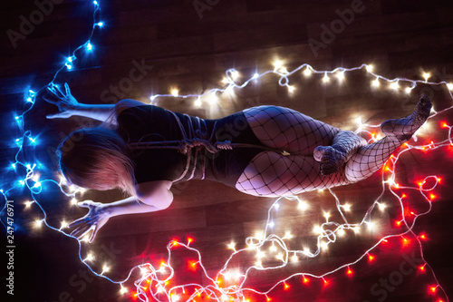 Shibari In The Light Of Many Lights Domination Over Beautiful Blonde