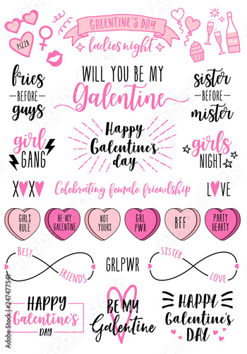 Obraz Galentines day cards, women's day, feminist doodles, vector design elements - fototapety do salonu