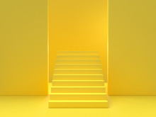 Minimal Idea Concept. Yellow Stairs