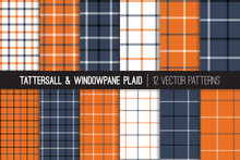 Burnt Orange, Navy Blue, Black And White Tattersall & Windowpane Plaid Vector Patterns. Trendy Fashion Textile Print. Small To Large Scale Check Textile Prints. Pattern Tile Swatches Included.