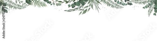 Plissee mit Motiv - Horisontal botanical vector design banner. Pink rose, eucalyptus, succulents, flowers, greenery. Natural spring card or frame. (von Anastasiya Kostsina)