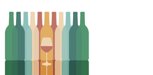 Colorful Silhouettes Of Wine Bottles Are Seen With One Glass Of Wine. Muted Colors.