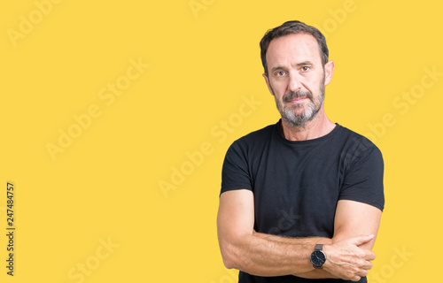 Handsome middle age hoary senior man over isolated background with serious expression on face. Simple and natural looking at the camera.