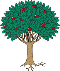 Fruit Tree Vector Illustration