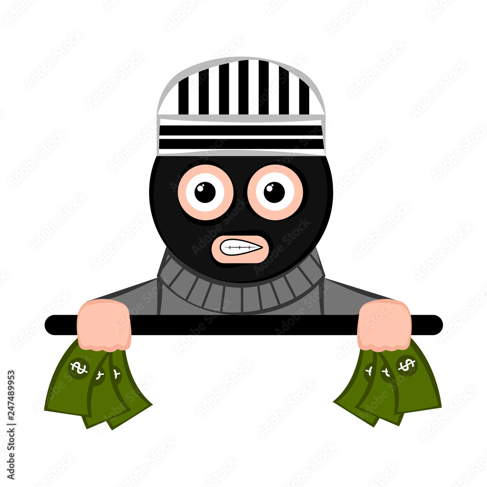Fototapeta Scared thief cartoon with a money in his hands. Vector illustration design