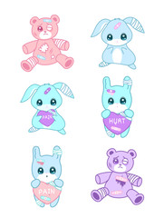 Cute suffering animals in yami kawaii style