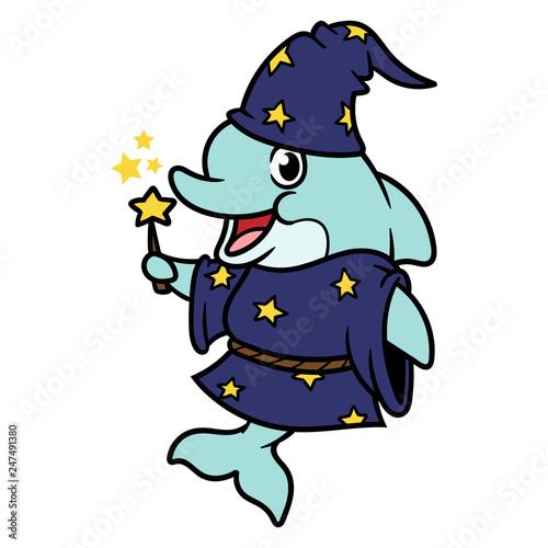 Naklejka premium Postać z kreskówki kreatora delfinów