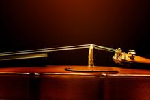 Close Up Violin On Black Background