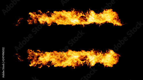 Fotografie, Obraz  Copy space between two fire lines, flame frame isolated on black