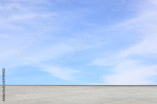 Printed kitchen splashbacks Light blue Empty concrete floor with blue sky for display or montage product-Business concept