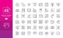 Set Of Thin Line Icons Of Grap...
