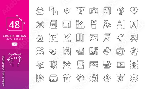 Set of thin line icons of graphic design. Simple linear icons in a modern style flat, Creative Process. Graphic design, creative package, stationary, software and more