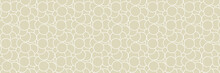Geometric Seamless Round Pattern. White Design On Long Olive Green Background