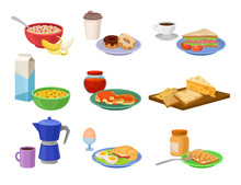 Flat Vector Set Of Breakfast Icons. Tasty Food And Drink. Delicious Morning Meal. Nutrition Theme
