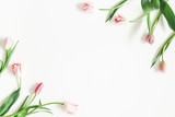 Fototapeta Tulipany - Flowers composition. Pink tulip flowers on white background. Valentines day, mothers day, womens day, spring, easter concept. Flat lay, top view, copy space