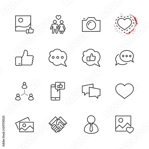 Set of Social Networks Related Vector Line Icons Canvas Print