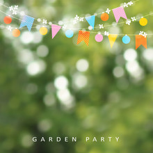 Spring Or Summer Greeting Card, Invitation. String Of Lights, Bunting Flags And Cherry Blossoms. Modern Blurred Background. Birthday Garden Party Decoration. Spring Concept. Vector Illustration.