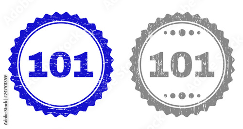 Photo 101 stamp seals with grunge texture in blue and grey colors isolated on white background